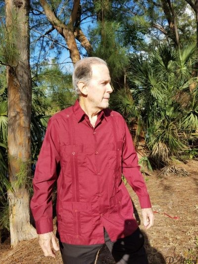 Men's Long Sleeve Cuban MexicanBurgundy Guayaberas D'Accord 2268