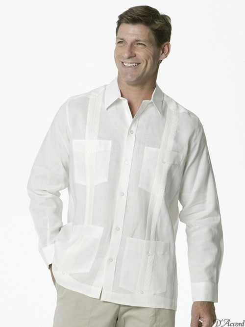 guayabera-2268-whiteD'Accord long sleeve poly cotton guayabera
