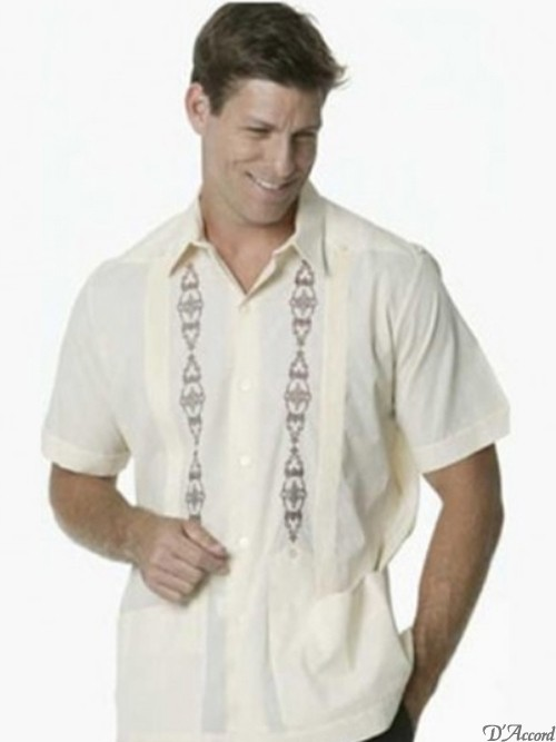 Men's Mexican Wedding Shirt Guayabera Embroidered Ecru D'Accord 2328