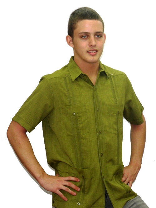 Men's Authentic Cuban Guayabera Shirt Micro Fiber Linen Look Olive D'Accord 2440