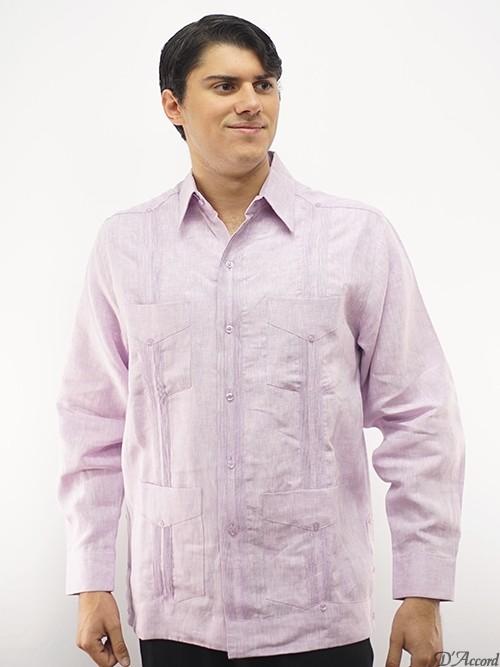 Men's Long Sleeve Cuban Guayabera Authentic Wedding Shirt Premium Linen Lavender D'Accord 2447