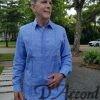 Men's Cuban Shirt Authentic Long Sleeve Cuban Guayabera Wedding Shirt Blue Premium Irish Linen D'Accord 2447