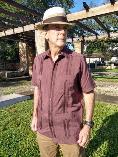 Men's Authentic Cuban Guayabera Brown Brethable Micro Fiber D'Accord 2440