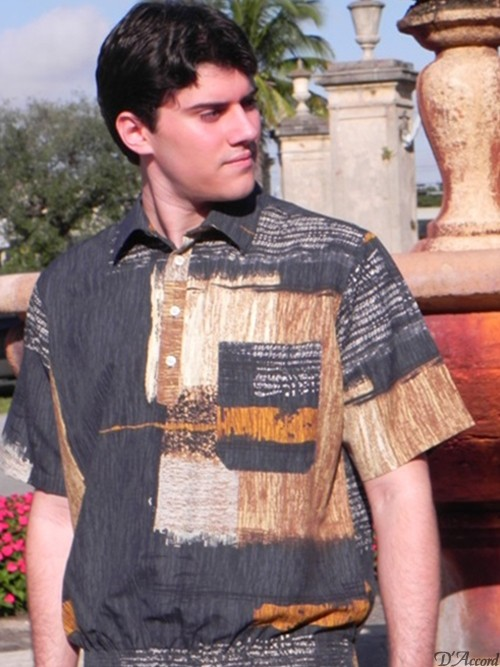 Men's Banded Bottom Retro Shirt Gray Micro Fiber Print D'Accord 6371