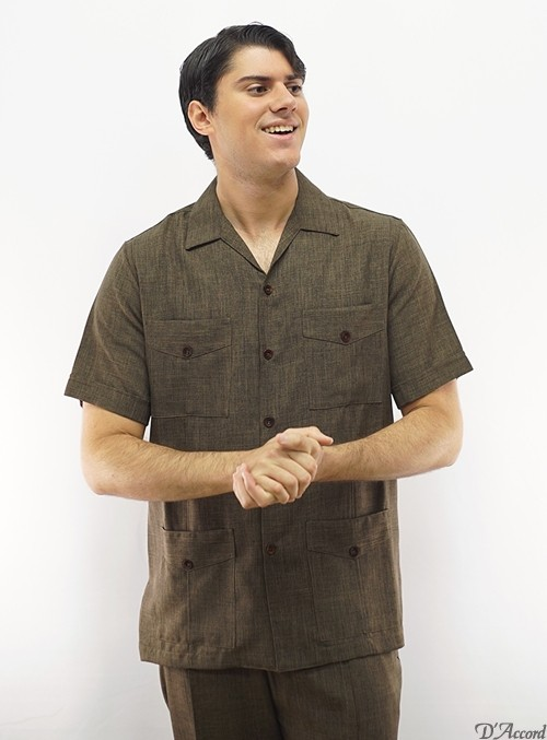 American Guayabera Brown Made in USA D'Accord 2287