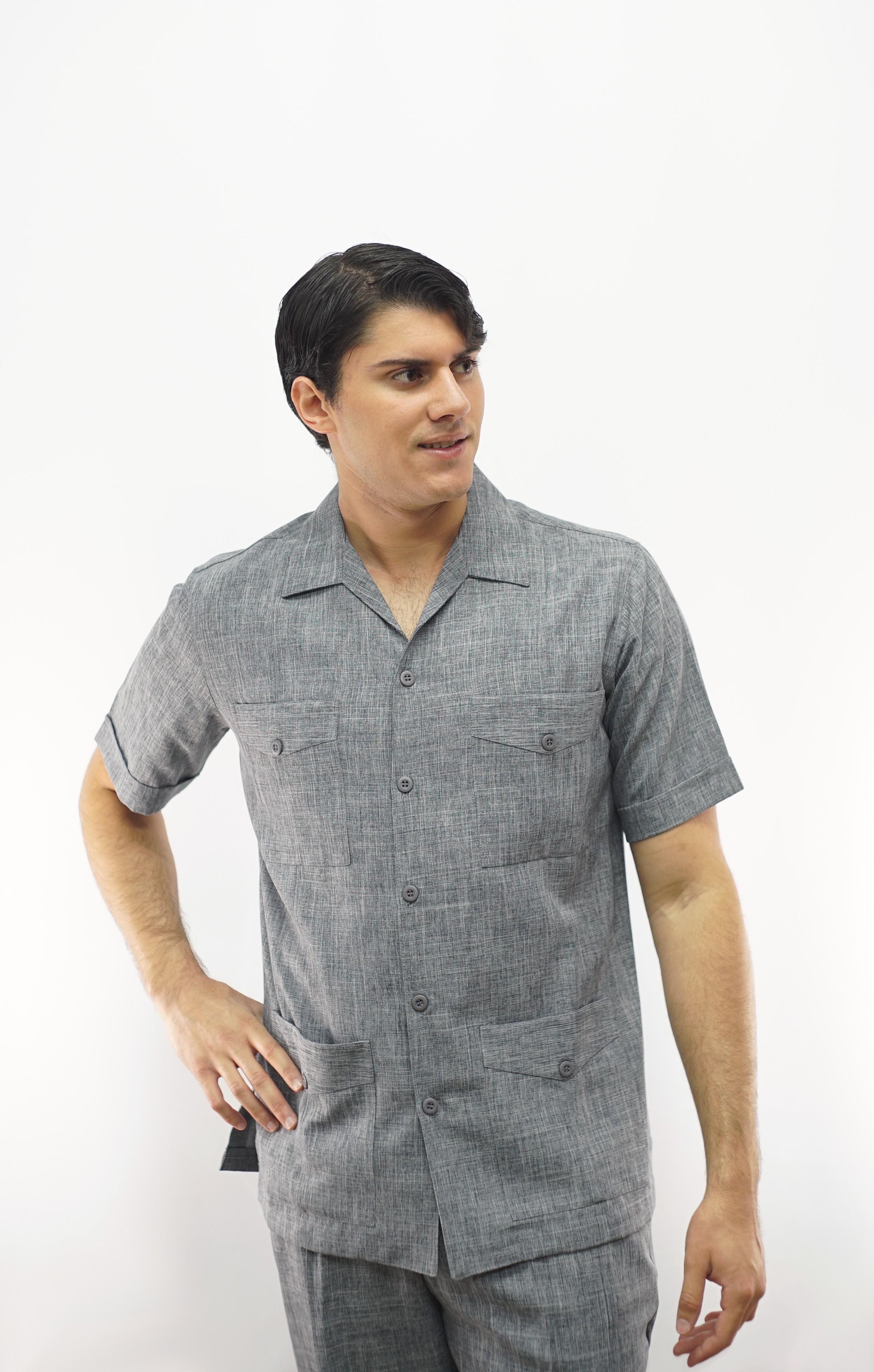 Guayabera 8287 Grey Safari Set Leisure Suit Pant And Shirt Made In