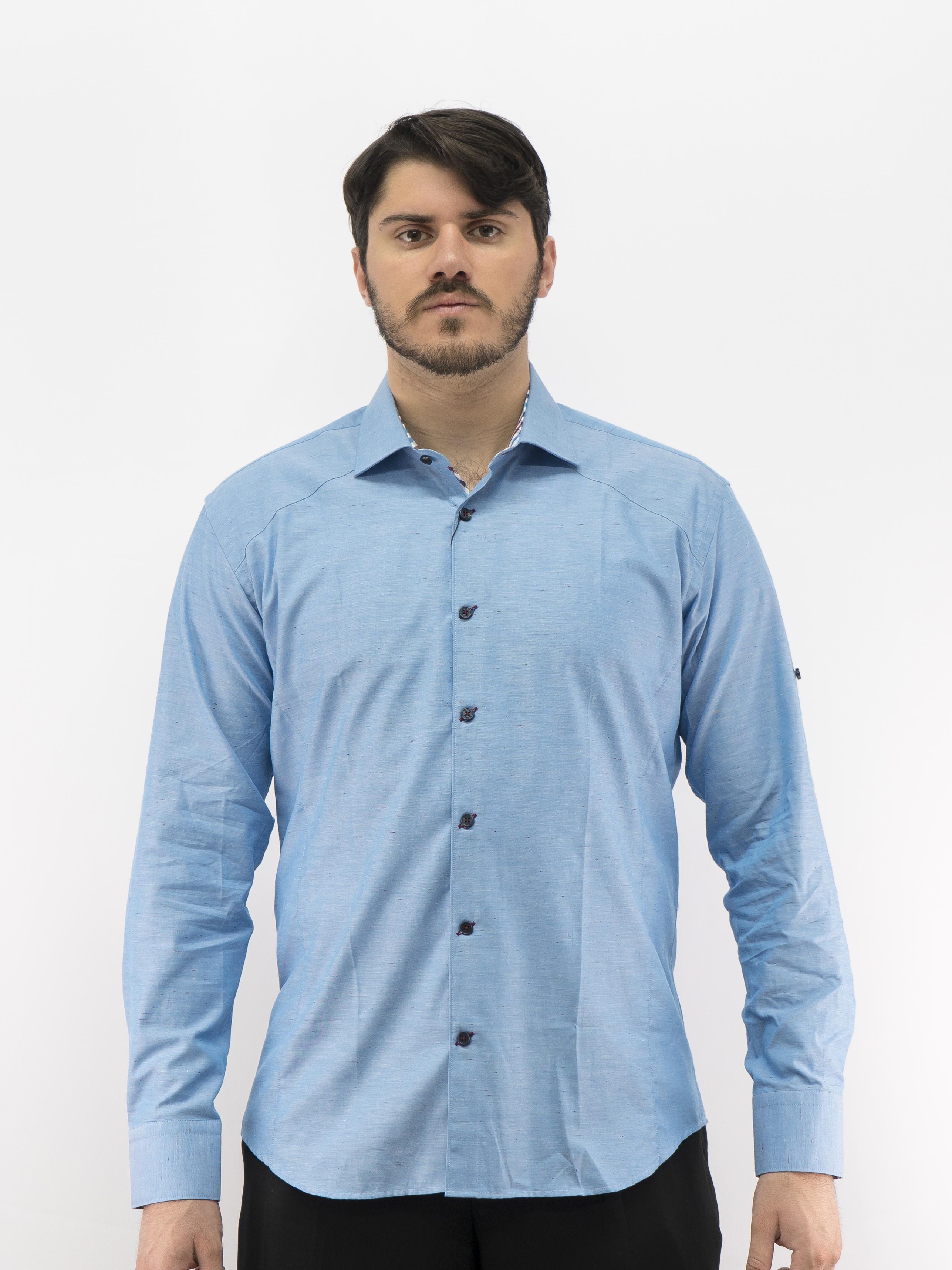 D\'Accord Men\'s Long Sleeve Dress Shirt Blue 100% Fine Cotton 4480 ...