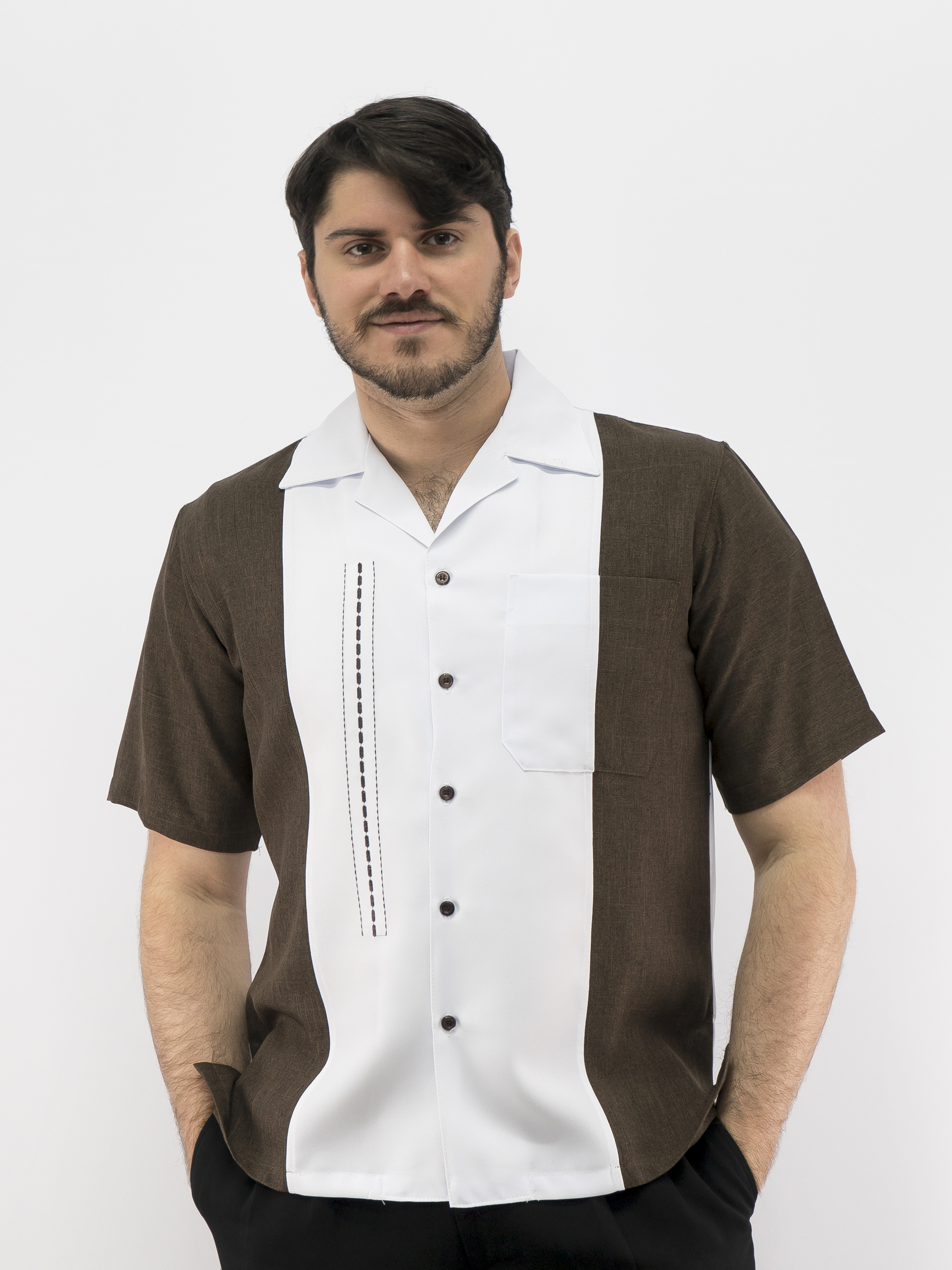 Daccord Mens Casual Shirt Brown White Made In Usa 5031 Sold Out