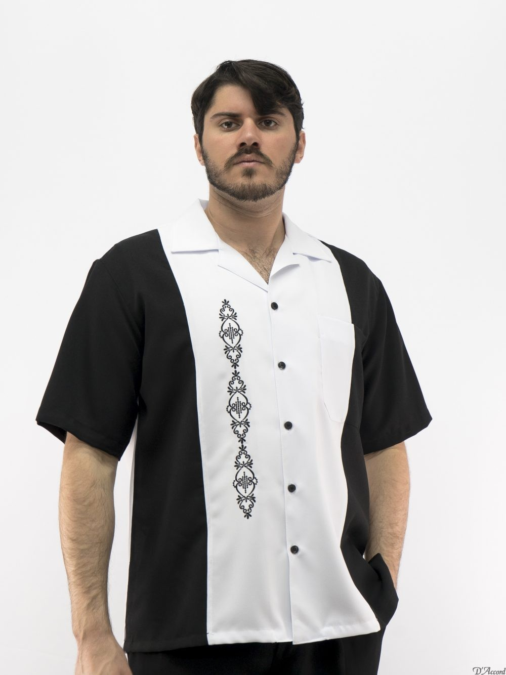 c8abe0832f Cuban Retro Shirt Men s Casual Shirt White Embroidered Made in Miami USA  D Accord 5878