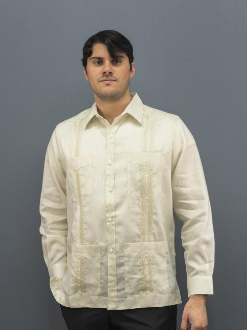 Cuban guayabera shirt 100% Premium linen Ivory