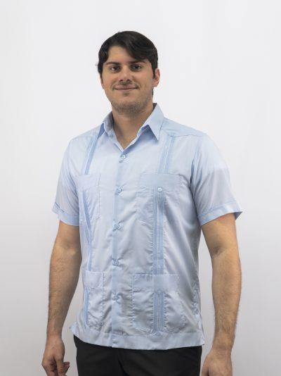 Men's Cuban Guayabera Blue Pima Cotton D'Accord 2531