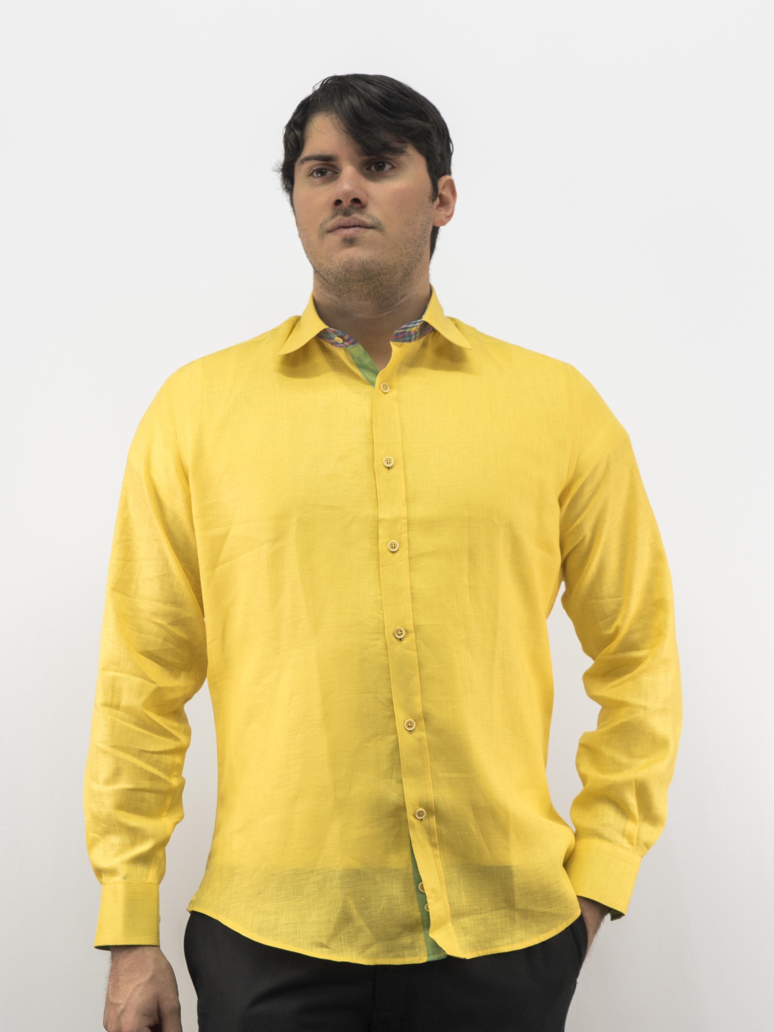 5d2b694dfee D Accord Men s Long Sleeve Shirt 100% Premium Linen Lime   4483 Last Medium