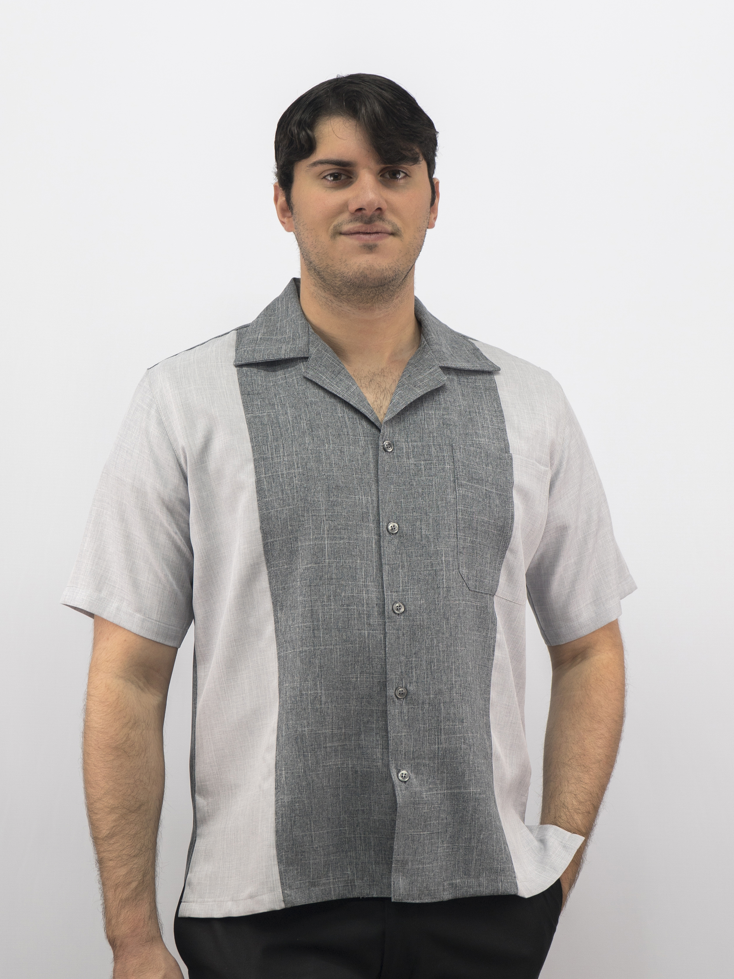 8a73f2277e6761 D'Accord Men's Casual Shirt 5894 Silver /Charcoal Made in USA ...