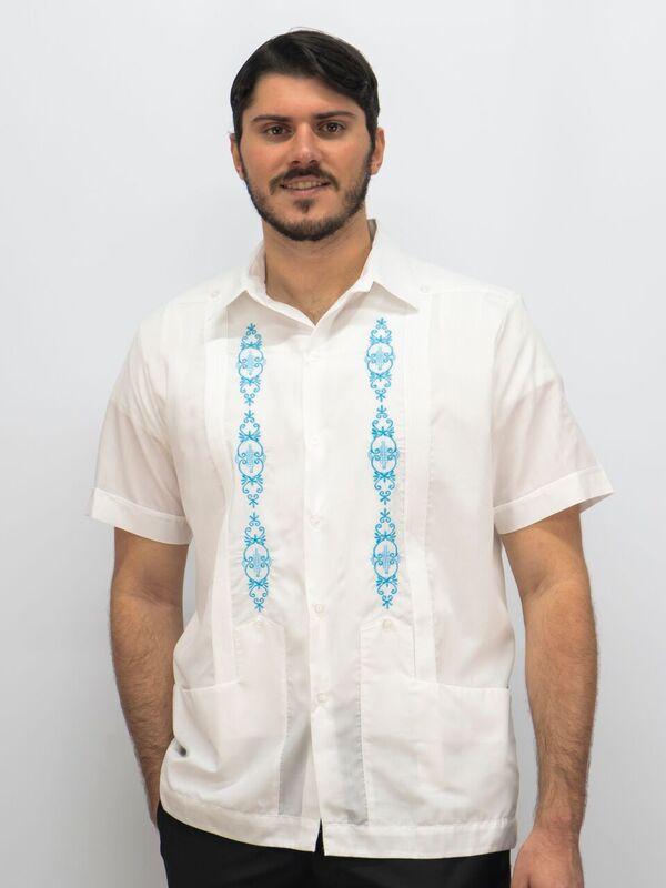 1a82ba768f999 Guayabera buy Embroidered Guayabera with Turquoise Embroidery SOLD OUT