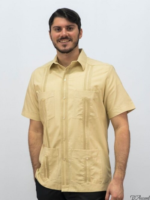 Cuban guayabera Mexican Wedding Shirt beige D'Accord 2548