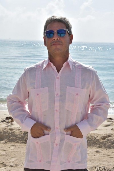 D'Accord pink linen long sleeve guayabera 2264