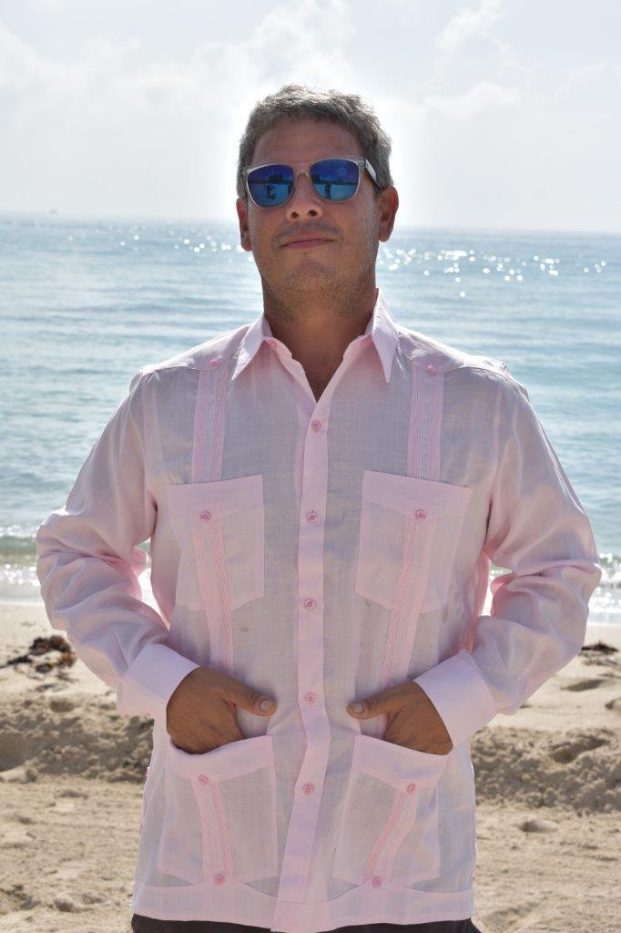 D Accord Mens Guayabera Pink 100 Linen 2264 Guayabera