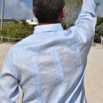 D'Accord blue linen long sleeve guayabera 2316