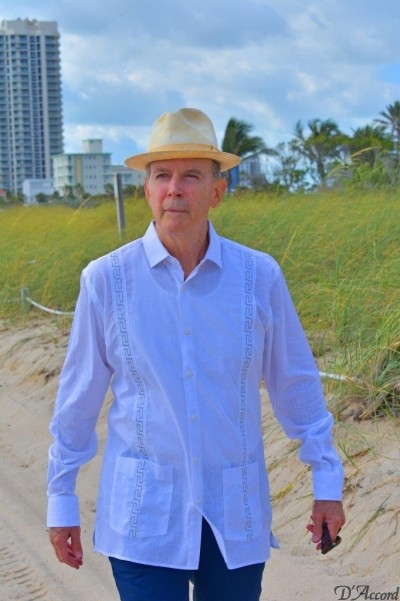 guayabera embroidered long sleeve white