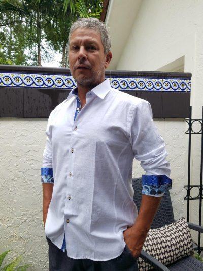 Men's Long Sleeve Shirt White Luxurious Jacquard Weave Paisley Tone on Tone D'Accord 4491