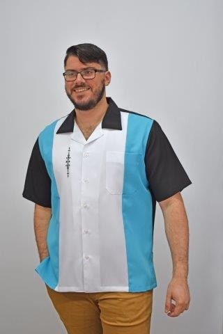 D'Accord retro shirt aqua white black 5839