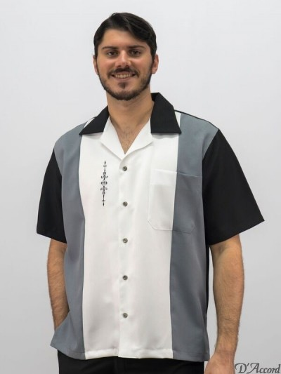 D'Accord graywhite black three tone retro shirt 5839
