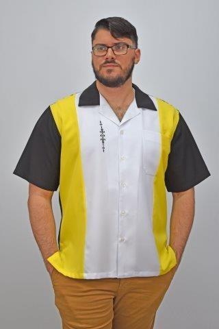 D'Accord yellow white black retro shirt 5839