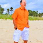 D'Accord orange linen guayabera white shorts