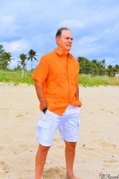D'Accord orange linen guayabera white shorts