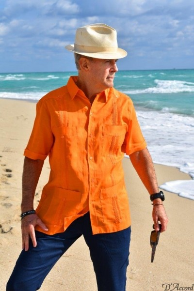 D'Accord orange linen guayabera 2263