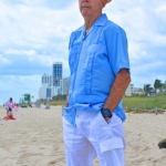 embroidered blue guayabera shirt