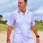 embroidered white guayabera shirt