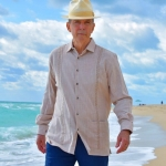 beige embroidered D'Accord guayabera