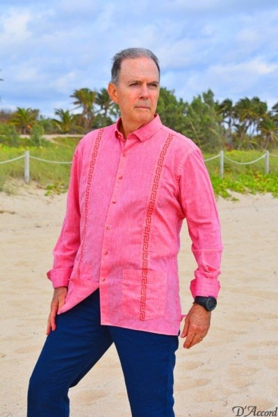 D'Accrd Coral embroidered guayabera