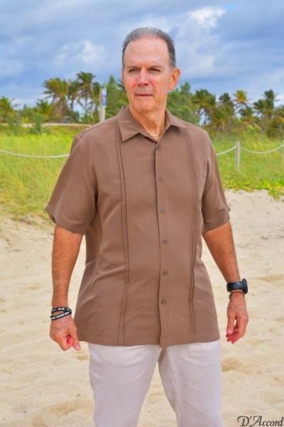 short sleeve shirt micro fiber brown