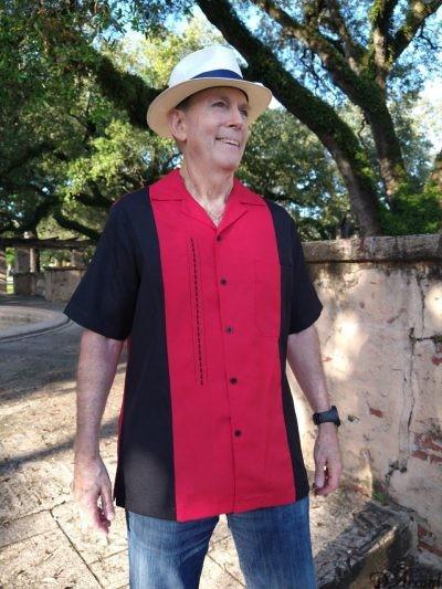 Men's Cuban Shirt Cuban Collar Retro Shirt Two tone Embroidered Black Red D'Accord # 5031
