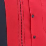 D'Accord red black shirt close up