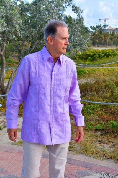 Men's Long Sleeve Cuban Guayabera Authentic Wedding Shirt Premium Linen Lavender 2447 D.Accord