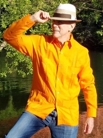 Men's Cuban Guayabera 100% Linen Orange Long Sleeves D'Accord 2264