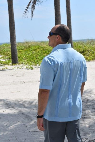 Classic Blue Cuban Guayabera in stock. Sizes Small through 4XL. Order now