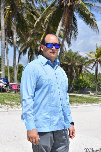 D'Accord blue long sleeve guayabera mexican wedding shirt-guayabera mexicana