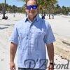 Men's Authentic Cuban Guayabera Shirt Premium Irish Linen Light Blue D'Accord 2441