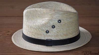 Men's Authentic Natural Light Palm Leaf Hat with eyelets D'Accord 1001