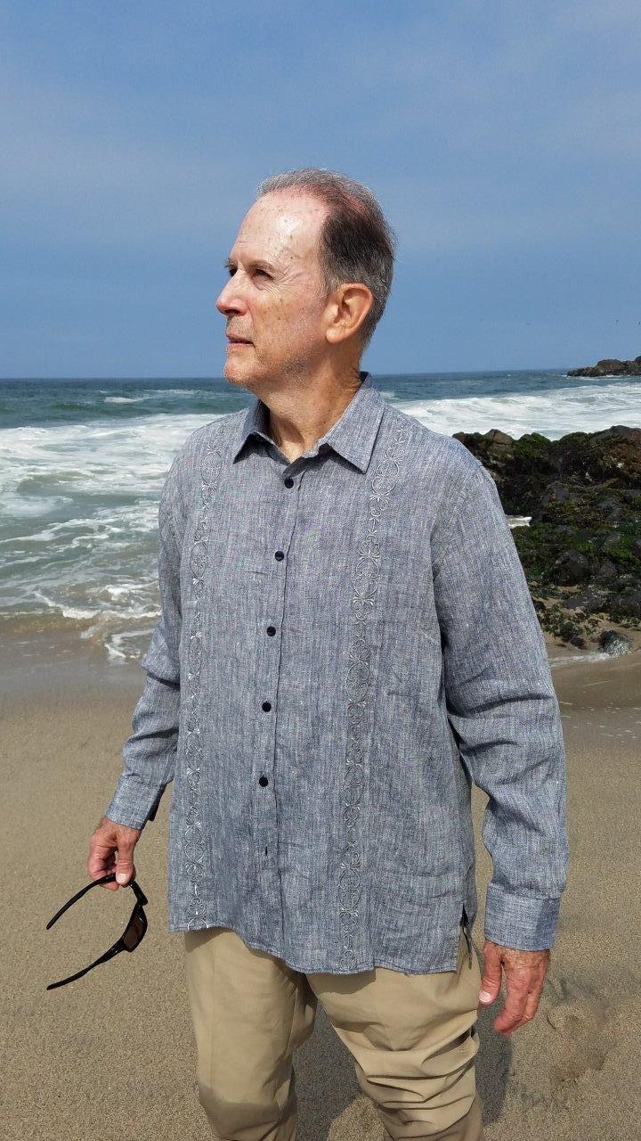 Mexican Wedding Shirt.Cuban Mexican Wedding Shirt Gray Long Sleeve Premium Linen Cotton D Accord 4526 1 S Only