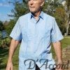 Men's Genuine Cuban Retro Guayabera Mexican Wedding Shirt Blue D'Accord McAllen Edition 2267