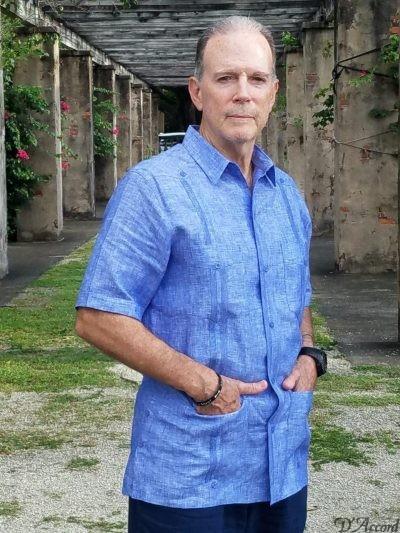 Men's Authentic Cuban Guayabera Shirt Premium Irish Linen Blue D'Accord 2441