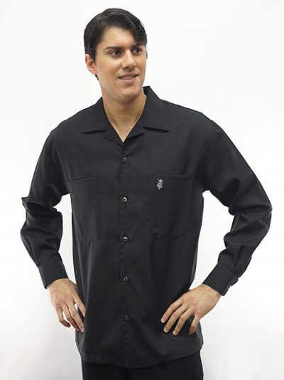 Men's Long Sleeve Black Casual shirt Two Pockets D'Accord 4270