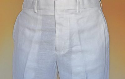 Men's Linen Blend Dress Slacks White D'Accord 9002