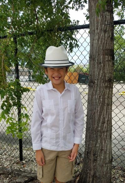 Cuban guayabera long sleeve boys white D'Accord 2329