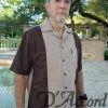 Cuban Camp Collar Two Tone Retro Bowling Shirt Linen Look D'Accord 5032